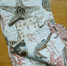 Coastal SEA SHELLS QUILTED THROW BLANKET Scallop Edge BROWN COARL BLUE Star Fish