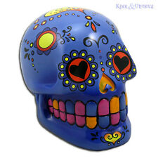 Fabulous Mexican Day of the Dead BLUE SUGAR SKULL Money Box Bank