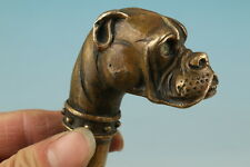 chinese Handmade Bronze Carving Dog Collect Cane Walking Stick Head Statue