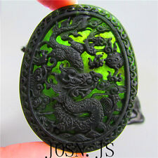 Chinese natural black green jade jadeite pendant necklace dragon hand-carved AAA