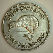 1941 Silver New Zealand 1 Florin 2 Shilling Coin AU #2