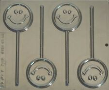 HAPPY FACE CHOCOLATE LOLLIPOP MOULD 4 CAVITY SMILEY FACE