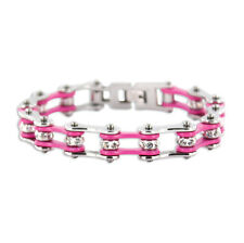 Kodiak Silver/Pink with Crystals Biker Motorcycle Chain Stainless Steel Bracelet