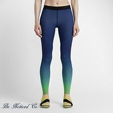 Nike Pro Hyperwarm Women's Training Tights M Blue Green Ombre Gym Training New