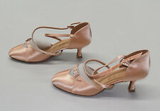 Eckse Women's Jinny C Semi-Point Ballroom Dance Shoes Flesh Satin Size 7 Wide