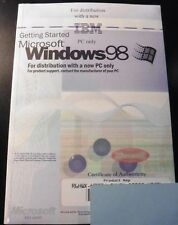 Microsoft Windows 98 Op System Software Disk Manual Product Key Sealed COA