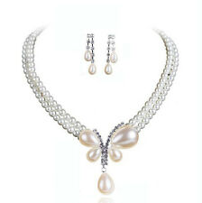 Weddings Bridal Jewellery White Cream Pearls Butterfly Earrings & Necklace S723