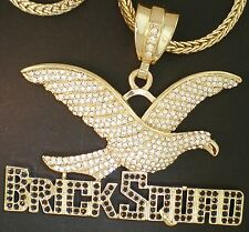 "BRICK SQUAD HAWK GOLDTONE CZ CHARM BLACK CZ BASE 36"" FRANCO CHAIN"