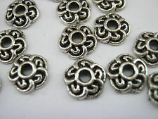 "25 Silver Flower Petal Bead Caps 9mm (3/8"") Bead Ends Jewellery Making Findings"