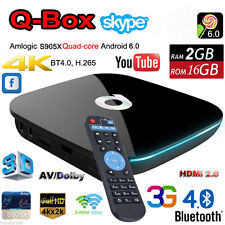 Q-BOX Smart TV BOX Android 6.0 S905X Quad-core 16GB WIFI HD 4K2K Fully Loaded 3G