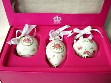 3 ROYAL ALBERT DOULTON CHRISTMAS DECORATIONS BAUBLES NEW PINK ROSES SHADE