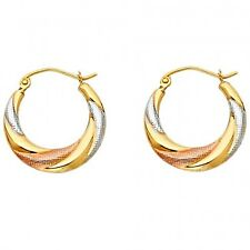 14k Tri Multi Tone Gold Fancy Designer Hallow Light Twist Swirl Hoop Earrings