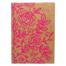 WHSmith 2017-18 A5 Neon Pink Lace Roses Academic Mid Year Diary Day To Page