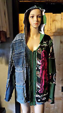 Ooak Half Denim Jean Hoodie Grunge Distressed Patchwork Cargo Jacket Men's Sz L