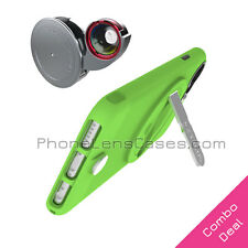 4-in-1 Lens Attachment + Green Case for Apple iPhone 6 Plus & 6s Plus