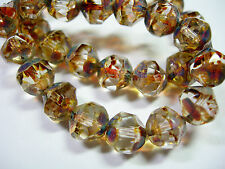 15 8mm Crystal Picasso Firepolished Thru Cuts Czech Glass Beads