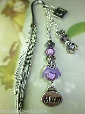 *Beaded Bookmark Mum Flowers Handmade Silver *More Designs in Store* Gift Idea