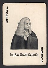 Single Swap Playing Card JOKER G68 MAN WHITE WIG BAY STATE CARD CO ANTIQUE OLD