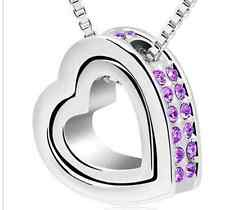 SILVER ALLOY MEXICAN VIOLET JEWELLED DOUBLE HEART SHAPE PENDANT (N21) + MORE