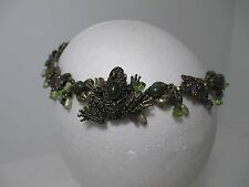 Vintage Signed Mary Demarco Frog fly Necklace Flower