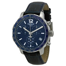 Tissot Quickster Chronograph Blue Dial Blue Leather Mens Watch  T0954171604700