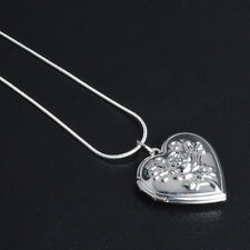 "Shiny 925 Sterling Silver PL Flower Heart Photo Locket Chain Necklace 18.1"" Gift"