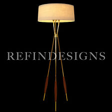 GERALD THURSTON LIGHTOLIER ATOMIC MODERN PROFILE TRIPOD BRASS WALNUT FLOOR LAMP