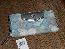 COACH MADISON GRAPHIC OP ART ACCORDION ZIP CLUTCH BLUE GREEN MULTI NWT 47748