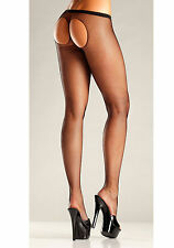 BeWicked 672 Sheer Thong Back Cutout Pantyhose (Black;One Size)