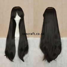 80cm long straight cosplay wig with fringe in black, UK SELLER, Alex style