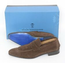 New SUTOR MANTELLASSI Brown Velour Suede Penny Loafers Shoes UK10.5 US 11.5 $780