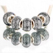 Bling gray 5pcs SILVER MURANO bead LAMPWORK For European Charm Bracelet