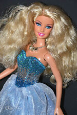 GORGEOUS CURLY HAIR BARBIE DOLL IN SILVER GLITTER BLUE ICE DRESS