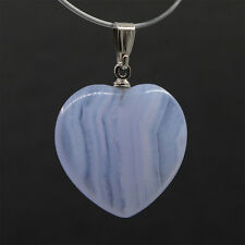Blue lace agate chalcedony heart pendant  20mm