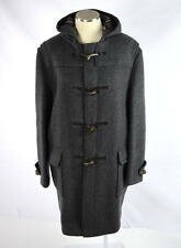 Vtg BURBERRY Heavy Charcoal Wool Fleece Duffle Coat Toggle Trench Jacket Mens L