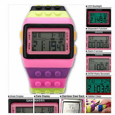Stylish Multicolor LED Digital Watch Classic Building Blocks Wristwatch