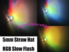 100pcs, 5mm Straw Hat Colorful Slow Flashing Flash RGB Red Blue Green LED Leds