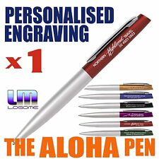 Custom ENGRAVED ALOHA Metal Pen Personalised 6 Colours TWIST ACTION ON SALE