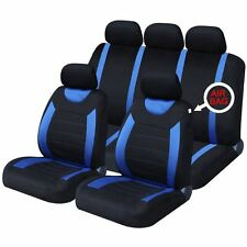 Universal Car Black & Blue Seat Covers Washable Airbag Safe Carnaby 8 Piece Set