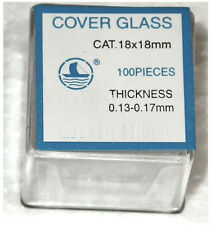 Microscope Slide Cover Slips - 1 Boxes of 100 18mm x 18mm Square Cover Glasses