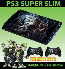 PLAYSTATION PS3 SUPER SLIM WEREWOLF MOON LYCANTHROPE SKIN STICKER & 2 PAD SKIN