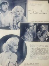 c2-2 ephemera 1935 2 Pages China Seas Film Jean Harlow Clark Gable
