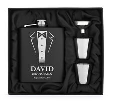 Engraved Stainless FLASK MATTE BLACK Funnel Shots PERSONALIZED Wedding Tuxedo