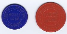 (T46-1)     2  x Tokens  YNYSYBWL Co-Op Soc Ltd   Large and Small Loaf  TOKENS