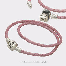 "Pandora Sterling Silver Double Pink Leather Cord 16.1"" Bracelet 590705CMP"