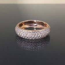 18k Pink Rose gold Natural round Diamond 5 row Sparkly engagement band ring 1.13