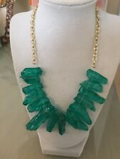 NWOT Green Translucent  Raw Stone Statement Necklace