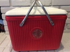 Vintage Poloron Alpine Cooler Red Ice Chest Vacucel Insulated Camping Tailgating