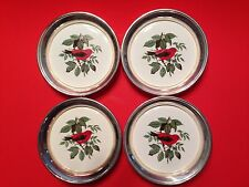 4 Silver Plate And Porcelain Coasters Scarlet Tanager Sheridan Taunton MA Vintag