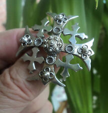 Vintage Unusual Large Silver JERUSALEM Cross Brooch c.1940/50s -  no. 2